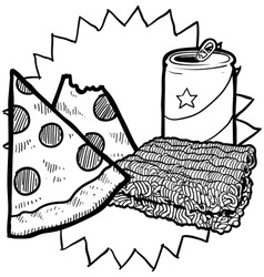 Pizza and soda vector image