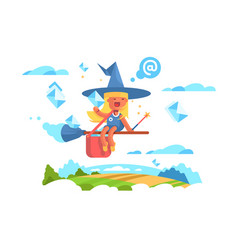 postal fairy woman flying on a broom vector image