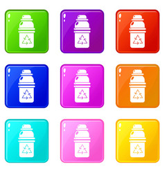 Purified water container icons set 9 color vector