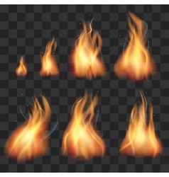 Realistic fire animation sprites flames set vector image