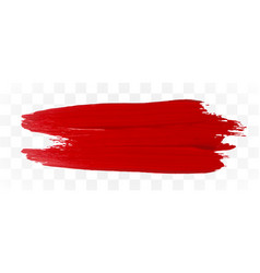 red brush stroke on transparent background paint vector image