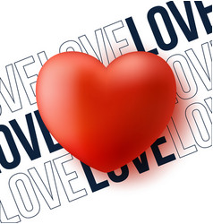 red heart with text love valentine day love vector image
