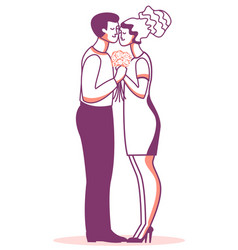 Romantic couple of man and woman fall in love vector