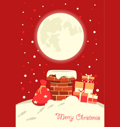 santa claus in chimney in christmas vector image
