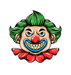 scary clown with sharp teeth and ball vector image