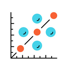 Scatter plot color icon scattergram mathematical vector