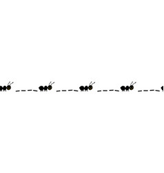 Seamless border with hand drawn ants black worker vector