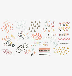 set hand drawn abstract irregular vector image