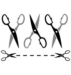 set metal scissors on white background with dotted vector image