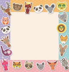 Set of funny animals muzzle square frame template vector image