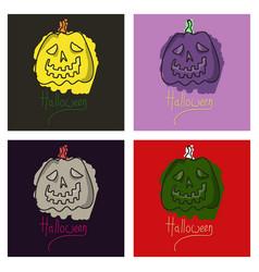 Set of halloween pumpkin with face on dark vector