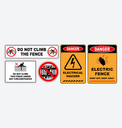 Set of prohibition do not climb the fence sign vector