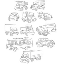 Set of toy cars trucks and buses vector