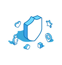 shield blue line isometric security vector image