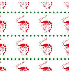 shrimp and peas seamless white background vector image