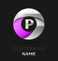 silver letter p logo in the silver-purple circle vector image