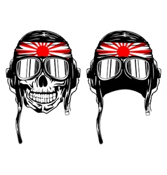 Skull in pilots helmet and band vector