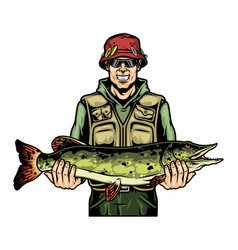 Smiling fisherman holding caught pike fish vector