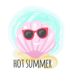smiling shell in glasses hot summer card vector image