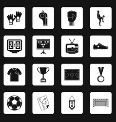 Soccer football icons set squares vector