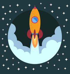 space rocket ship in round piece vector image