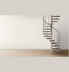 spiral staircase in empty home interior design vector image