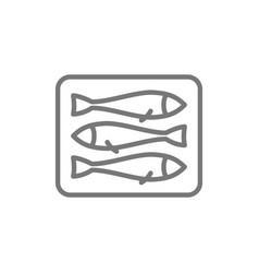 sprats fish line icon vector image