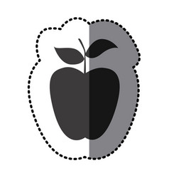 Sticker monochrome apple fruit icon vector