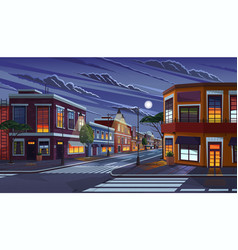 Street town at night vector
