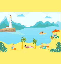 summer rest peoples on beach young girls lying vector image