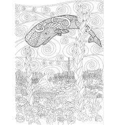 Swimming whale for anti stress Coloring vector image