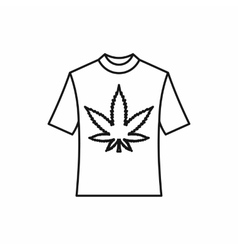 T-shirt with marijuana leaf icon outline style vector