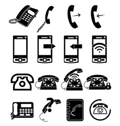 Telephone icons set vector