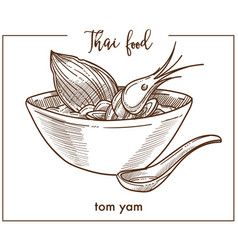 Tom yam in deep bowl with spoon from thai food vector