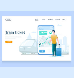 train ticket website landing page design vector image