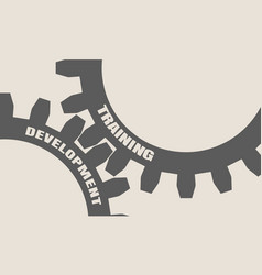 Training and development text on the gears vector