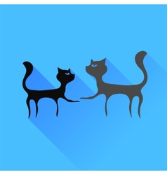 Two Cats Silhouettes vector