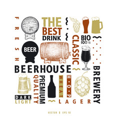 Typographic beer design template types of vector