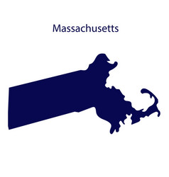 United states massachusetts dark blue silhouette vector