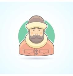 Warm dressed man polar explorer icon vector image