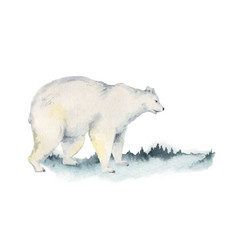 watercolor christmas card with polar bear vector image