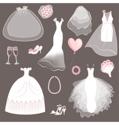 Wedding dresses set vector