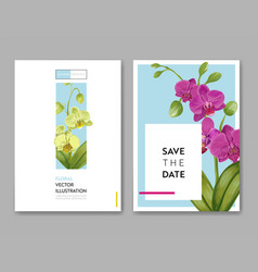 wedding invitation layout template orchid flowers vector image