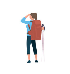 Woman with hiking backpack and trekking sticks vector