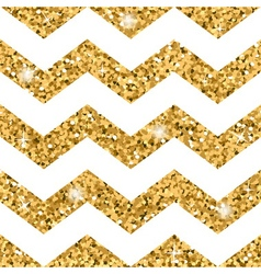 Zigzag seamless pattern gold glitter and white vector