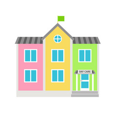 daycare colorful building flat icon vector image vector image