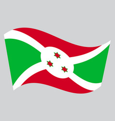 flag of burundi waving on gray background vector image vector image