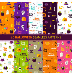 halloween holiday seamless patterns vector image