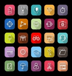 Human resource line icons with long shadow vector image