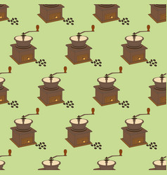 Manual coffee grinder mill pattern vector